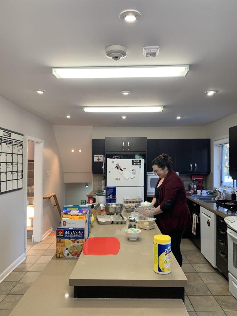 Katie preparing meal for Breakfast Club