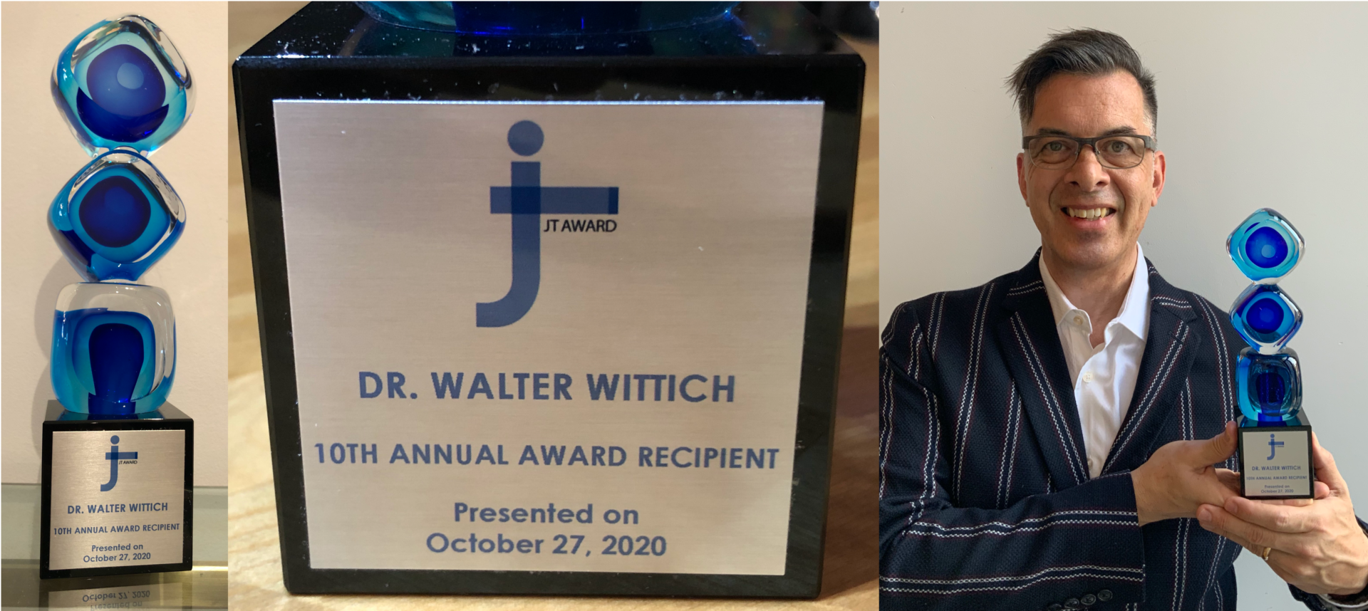 Combination of photos. From left to right: The full JT Award. The plaque of the JT Award. Walter Wittich with his JT Award.